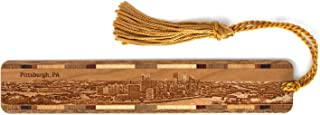 product image for Pittsburgh, Pennsylvania Skyline - Engraved Wooden Bookmark with Tassel - Also Available Personalized