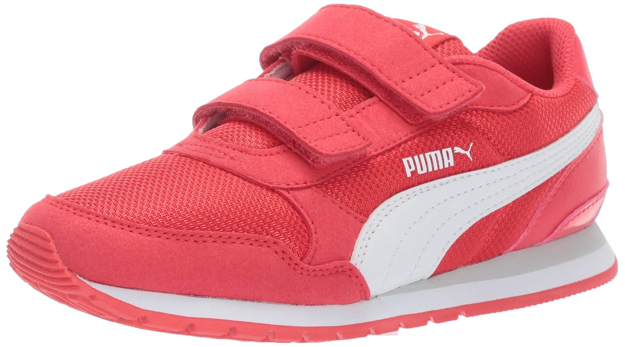 PUMA Unisex ST Runner Velcro Sneaker, hibiscwhite-grayviolet, 13.5 M US Little Kid