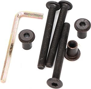 binifiMux 10-Pack M6x45mm Black Socket Cap Screws Barrel Nuts Kit for Furniture Bed Crib