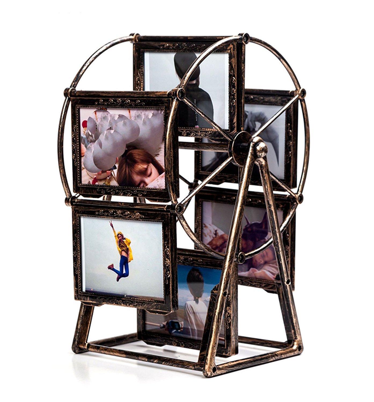 Leecum Ferris Wheel Photo Frame 5 Inch Retro Style Can Rotated Sets for Prop Desk Bedside Graduation Grandkids Family Personalized Unique Album Picture Frames Home Decoration