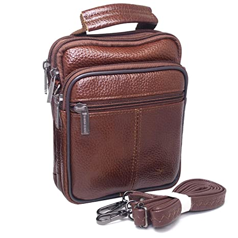 b473dbd23ca2 Amazon.com  Mens Waist Pack Small Messenger Bags Tactical Mobile Phone  Pouch Leather Travel Bags Cases Holsters (Brown WK32EN)  Cell Phones    Accessories