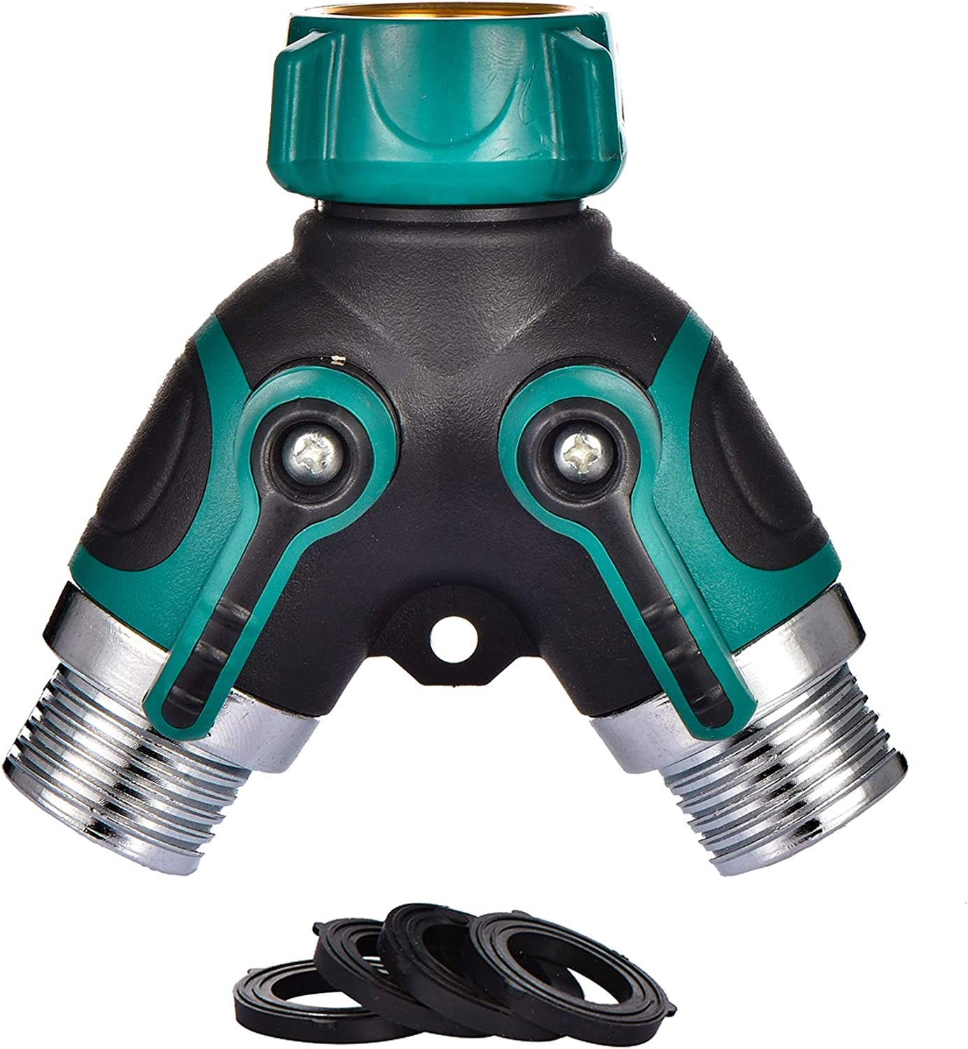 2 Way Hose Splitter Y Connector with Comfortable Rubber Grip and 360 °Rotatable Top Quick Connect Garden Hose Tee Equipment Valve Shut Off
