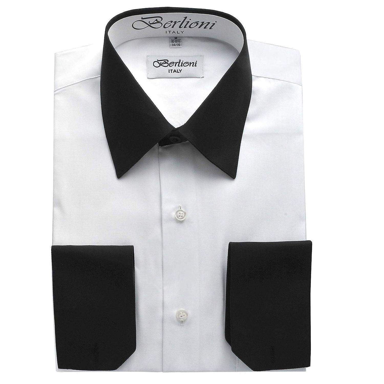 236c91a8305 Mens Black Dress Shirt White Collar Cuffs - DREAMWORKS