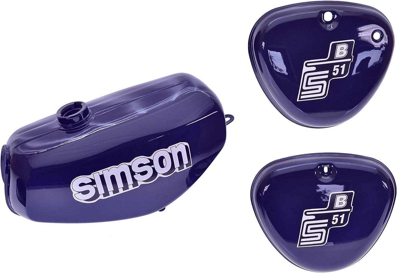 Tank Set Mit Seitendeckel S51 S70 Perlblau Versiegelt Mit Aufkleber Simson Auto