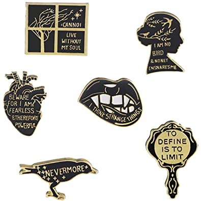 4baeeaf854d Amazon.com: JLJ Enamel Pin Set Punk Cute Brooches for Party Vampire Skull  Witch for Costume Decoration: Jewelry