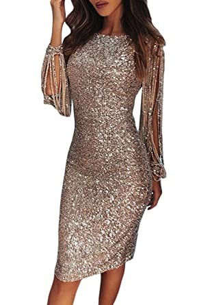 45adab18b8a FIYOTE Ladies Sexy Sequins Bodycon Pencil Dress Midi Party Nightclub Knee  Length Dresses Nude  Amazon.co.uk  Clothing