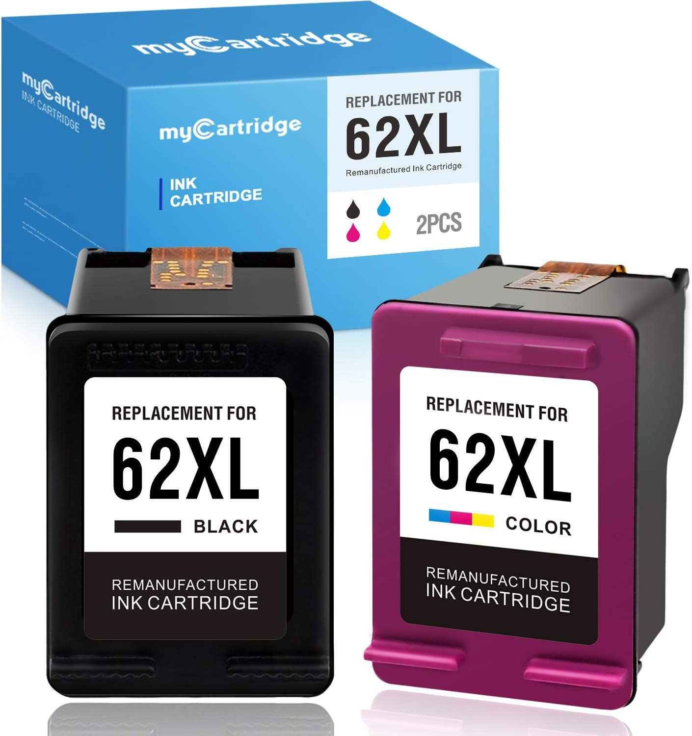 MYCARTRIDGE Remanufactured Ink Cartridge Replacement for HP 62 62XL Use with Envy 7640 5660 5540 7645 OfficeJet 5740 8040 5741 OfficeJet 200 250 (1 Black 1 Tri-Color, 2-Pack)