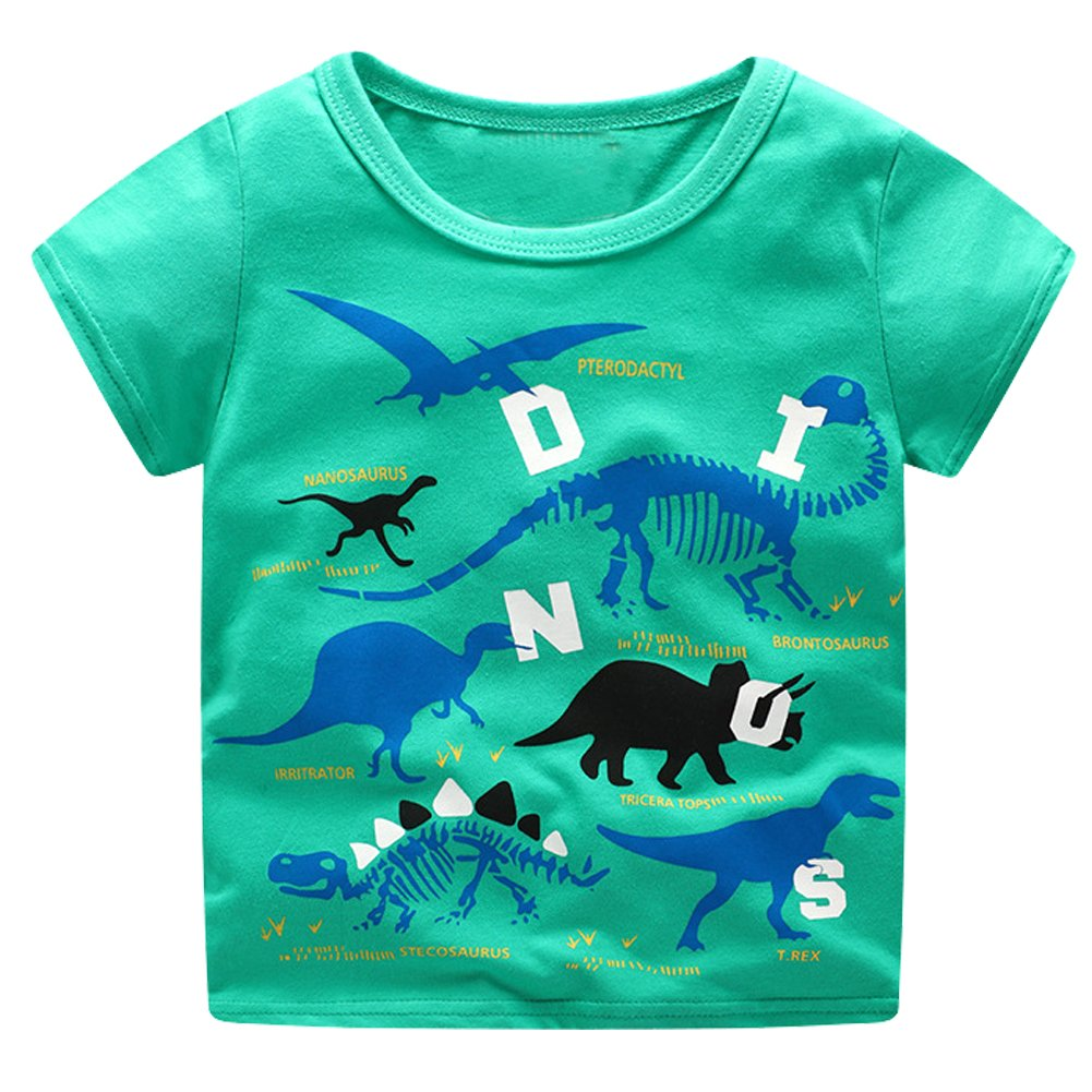 Meeting Freedom Boys' T-Shirt Round Neck Blouse Short Sleeve Cotton Tees Print Dinosaur