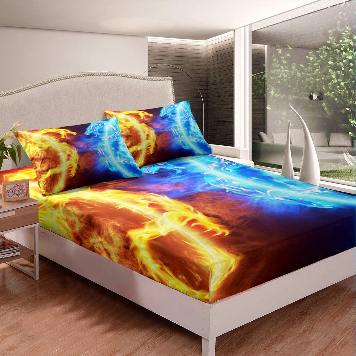 Ice Fire Dragon Fitted Sheet Set for Boys Teens Kids Oriental Beast Printed Bedding Set Eastern Bed Sheet Set Set Auspicious Animals Fairy Tale Theme Room Decor 2Pcs Bed CoverTwin Size