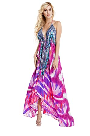 391d416723 La Moda Clothing Multicolor Backless Hi-Lo Resortwear 3-Way Dress | Designer  Deep V-Neck Resort Wear | by GOGA Swimwear at Amazon Women's Clothing store: