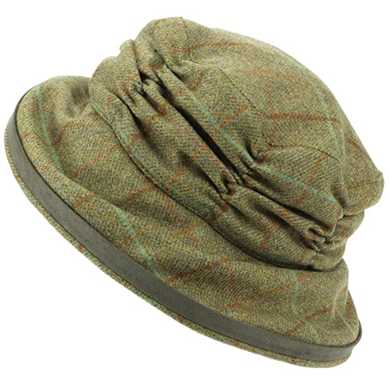 111f76225f9 Hawkins Ladies Wool Tweed Cloche Hat with a Ruched Crown - Dark Green   Amazon.co.uk  Clothing