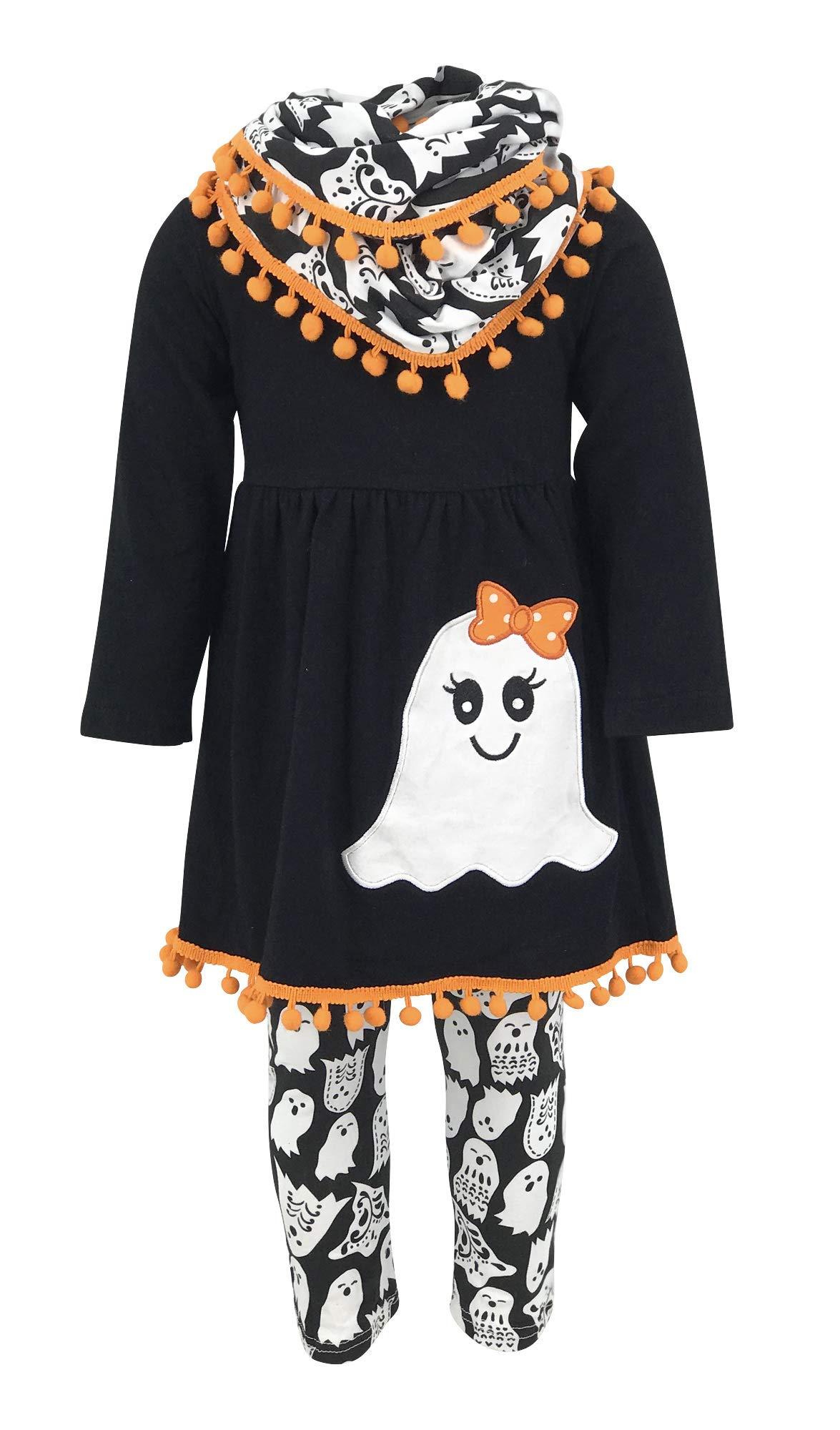 Unique Baby Girls 3 Piece Ghost Halloween Outfit with Infinity Scarf (6/XL, Black)