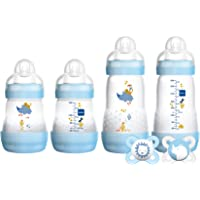 """MAM Newborn Gift Set, Best Pacifiers and Baby Bottles for Breastfed Babies,""""Feed & Soothe"""" Set, Boy, 6-Count"""