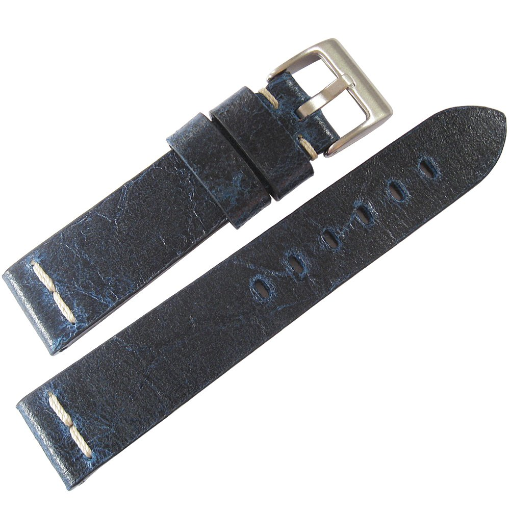 ColaReb 22mm Roma Blue Distressed Leather Mens Watch Strap Made in Italy