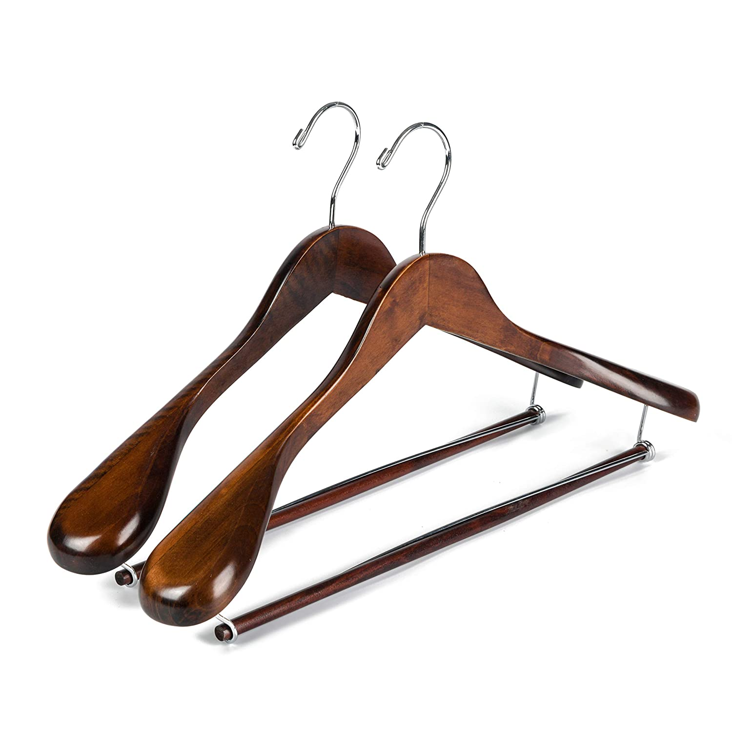 2, Retro Quality Luxury Wooden Suit Hangers Wide Wood Hanger for Coats and Pants with Locking Bar Great for Travelers Heavy Duty
