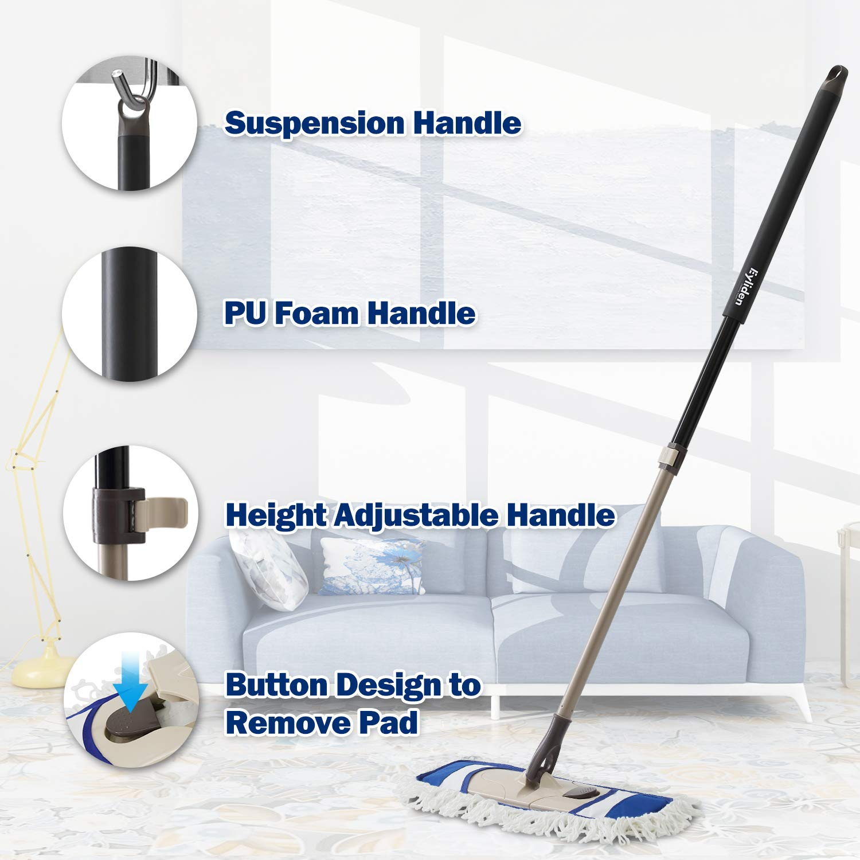 Eyliden Dust Mop Microfiber Hardwood Floor Mop with Extendable Adjustable Handle and 2 Mop Refills for Wet or Dry Floor Cleaning