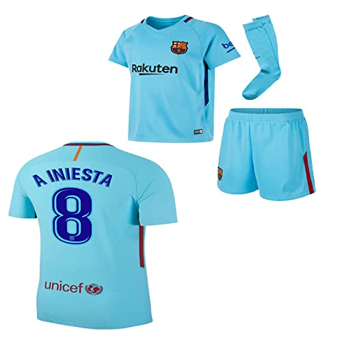 BARCA2018 Barcelona NB Messi Suarez Iniesta Neymar 2017 2018 17 18 Kid Youth Replica Home Jersey
