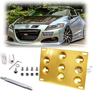 Xotic Tech Gold Front License Plate Mount Bracket Tow Hook for Honda FIT CR-Z 2nd Gen 10-14