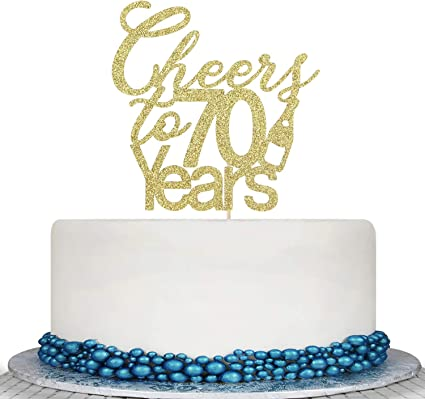 Gold Glitter 70 Fabulous Cake Topper Cheer To Years Hello 70Th Birthday//Wedding