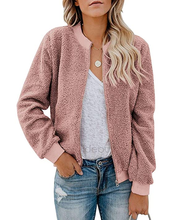 Eurivicy Women Fleece Jacket Winter Bomber Long Sleeve Faux Sherpa Fuzzy Casual Zip Up Coat Pocket best women's faux sherpa jackets