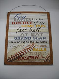 Hey Batter Double Play Home Run Baseball Sports Wall Art Sign Boys Bedroom Decor Take Me