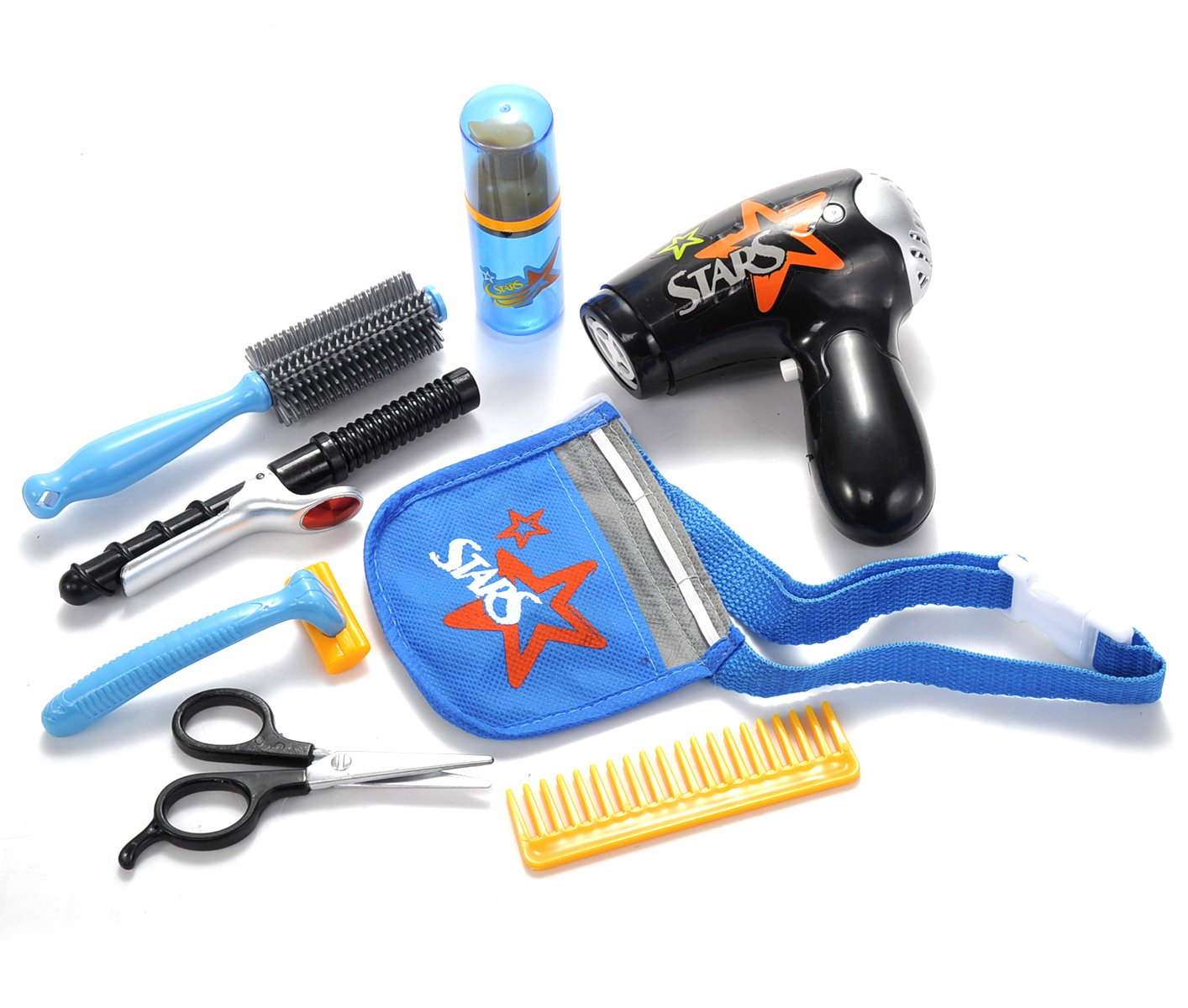 AMPERSAND SHOPS Professional Hair Stylist Barber Shop Salon Toy Set with Hair Dryer Brush Comb Curling Iron Shaver Scissors and Tool Belt Blue by AMPERSAND SHOPS (Image #1)