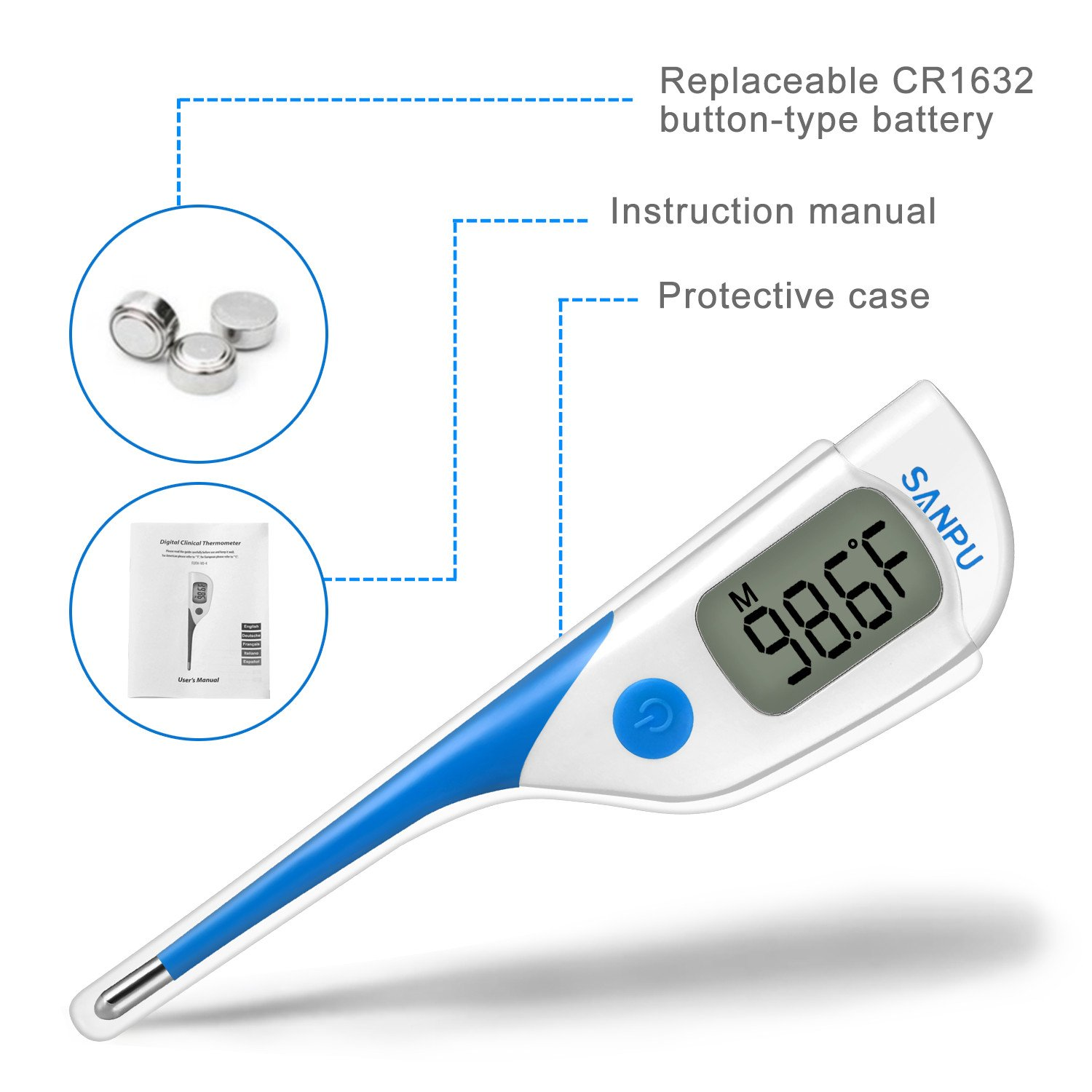 Amazon.com: Clinical Thermometer Digital Medical Oral Rectal and Armpit Thermometer for Baby and Adult, Fast 8 Seconds Reading,Waterproof with Fever Alarm: ...