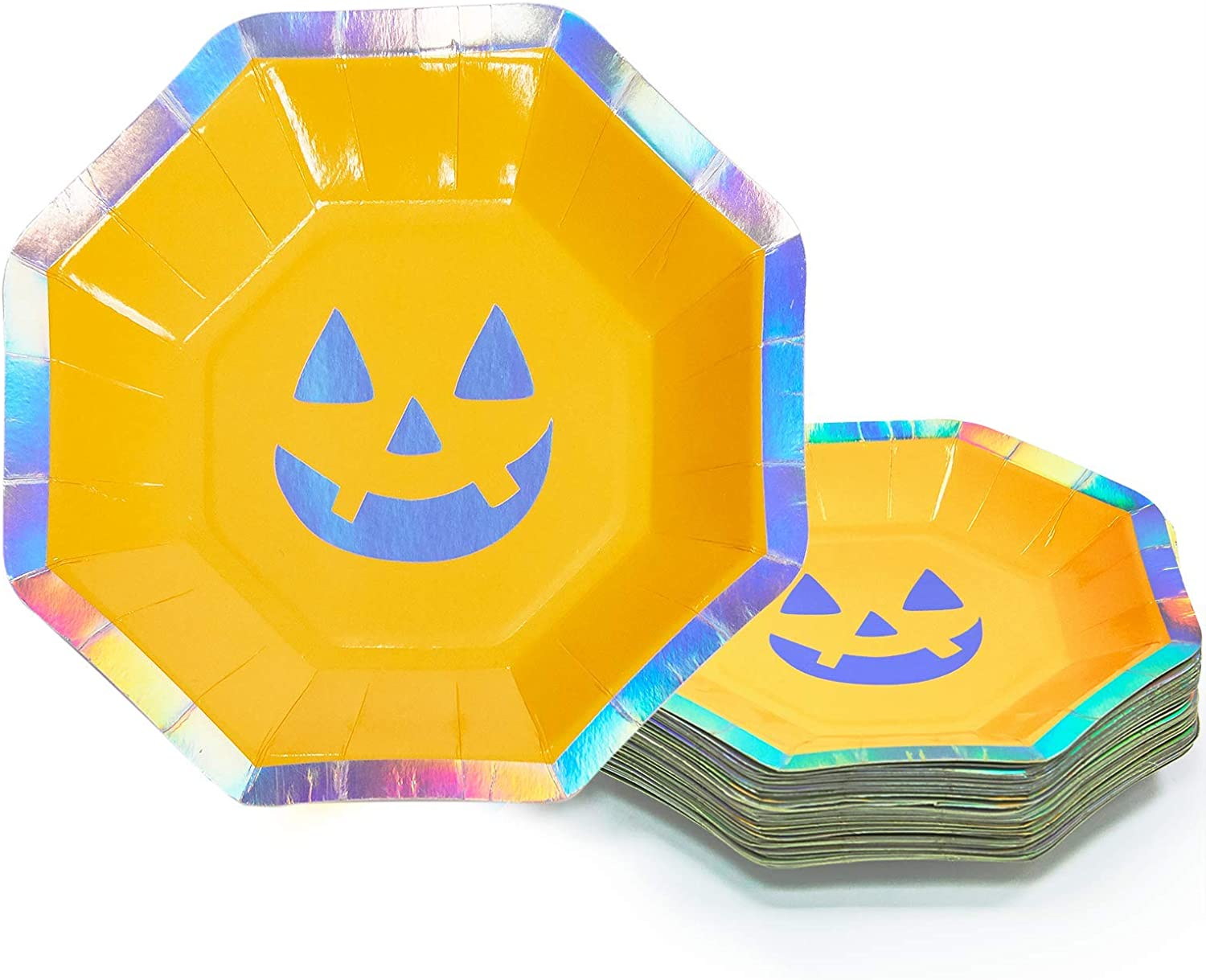 Party Paper Plates, 50-Pack Halloween Pumpkin Disposable Plates, 8 Inches, Halloween Party Supplies