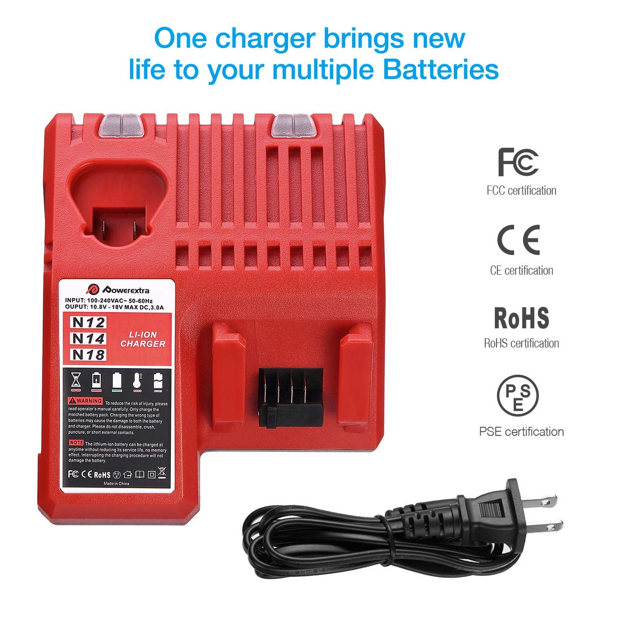 Powerextra M12 /& M18 Rapid Replacement Charger for Milwaukee 48-59-1812 M12 or M18 M14 Lithium Battery 48-11-2420 48-11-2440 48-11-1820 48-11-1840 48-11-1850 48-11-2401 48-11-1890
