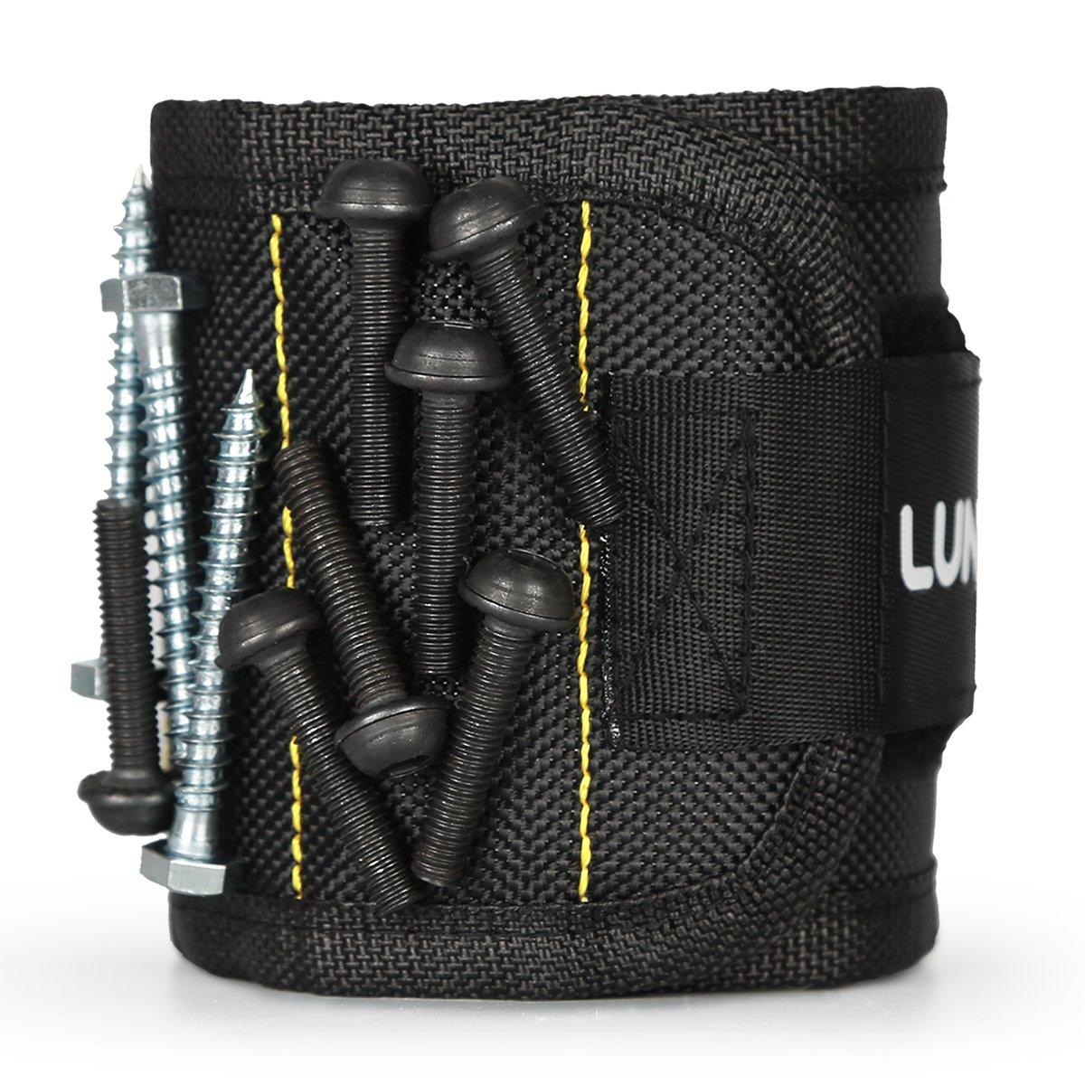 Lunvon Bracelet Magné tique, Magnet Arm Band, 15 puissants aimants forts pour les vis de maintien Clous, morceaux, attaches, rondelles, boulons - Best Tool Cadeau pour Bricoleur Handyman, Noir