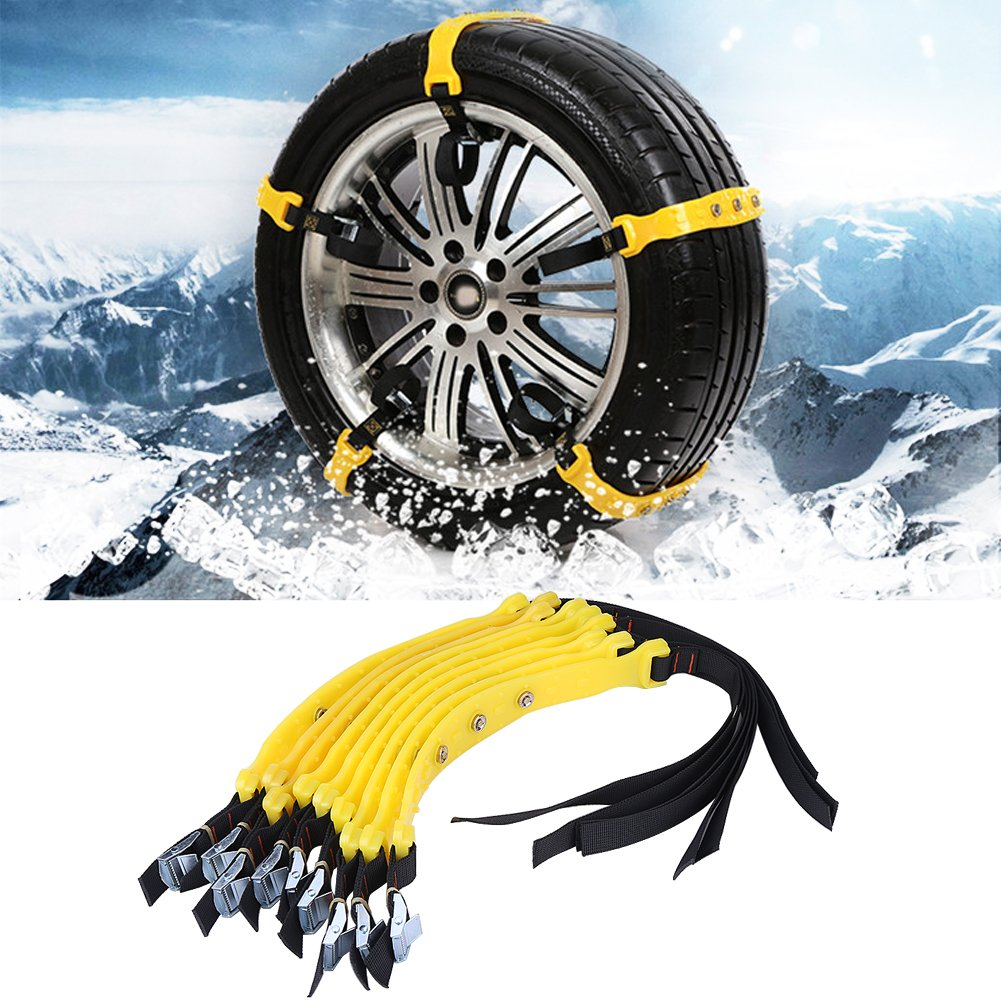 Zerone 10Pcs 185-225mm Car Anti-skid Emergency Snow Tyre Chains, Universal Car Snow Security Tyre Chains Belt Beef Tendon Vehicles Wheel for Car Truck SUV