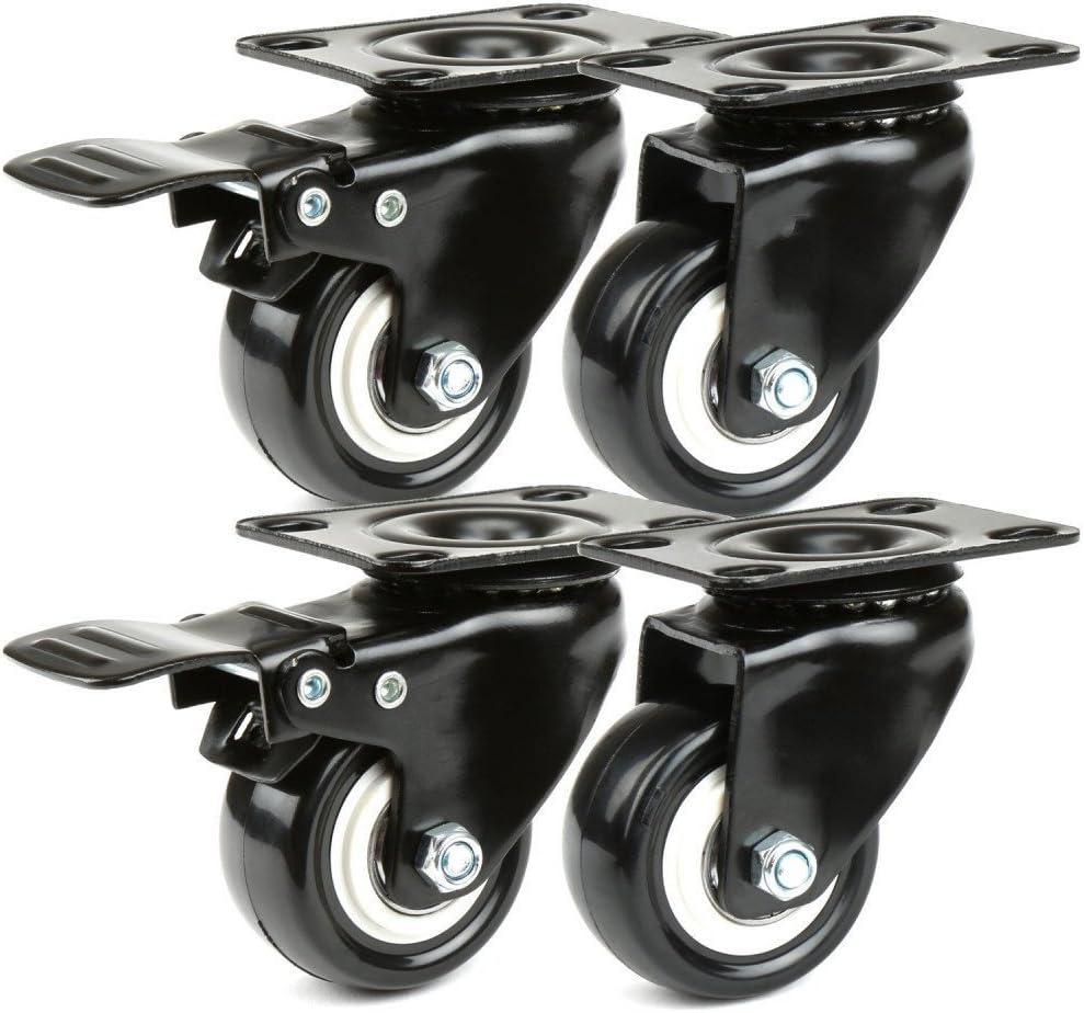 Ruedas para Muebles YTTX Ruedas giratorias de goma con frenos para 4 Ruedas para Muebles 400KG 50mm Ruedas Giratorias Con Placa de Montaje