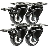 JZK 4 x zwarte PU-strandstoelwielen, transportwielen, set van 2 zwenkwielen + 2 zwenkwielen met rem 50 mm, kleine…