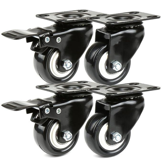 JZK Ruedas giratorias 180kg caucho con placa y rodamiento, 2 con freno + 2 sin freno para muebles silla mesa carro carro: Amazon.es: Hogar
