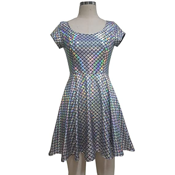 239ee83e678 pinda Summer Musical Festival Rave Clothes Holographic Wrap Circle Skater  Dress  Amazon.co.uk  Clothing