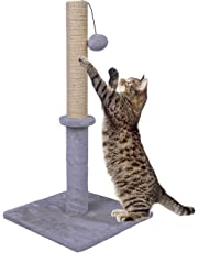 """Dimaka 29"""" Tall Cat Scratching Post, Sisal Rope Scratcher Tree Covered Soft Smooth Plush, Vertical Scratch, Modern Design 29 Inches Height (Light Grey)"""