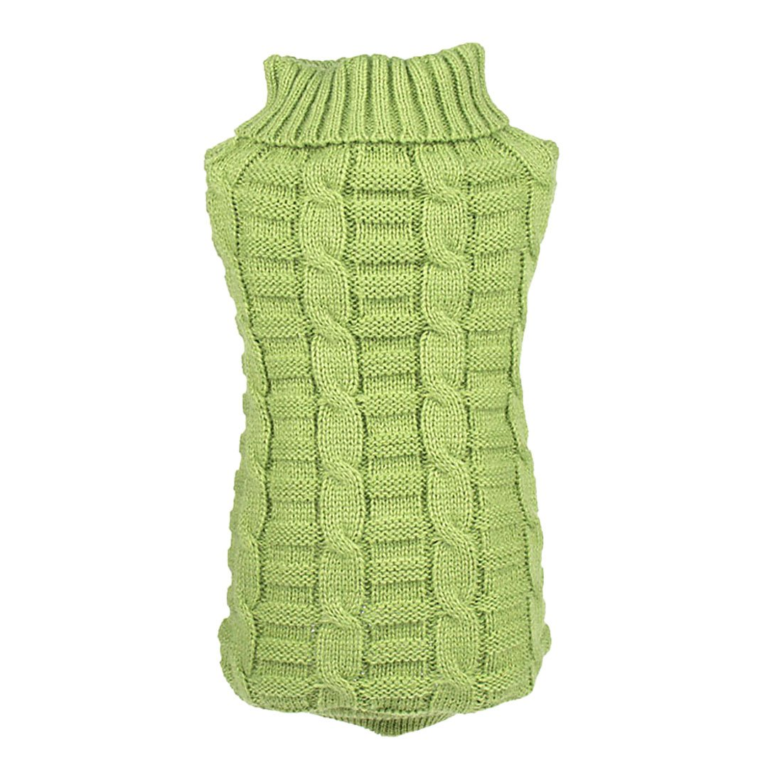 uxcell Elastic Soft Dog Sweater Cable Knit Pet Clothes, Green, L