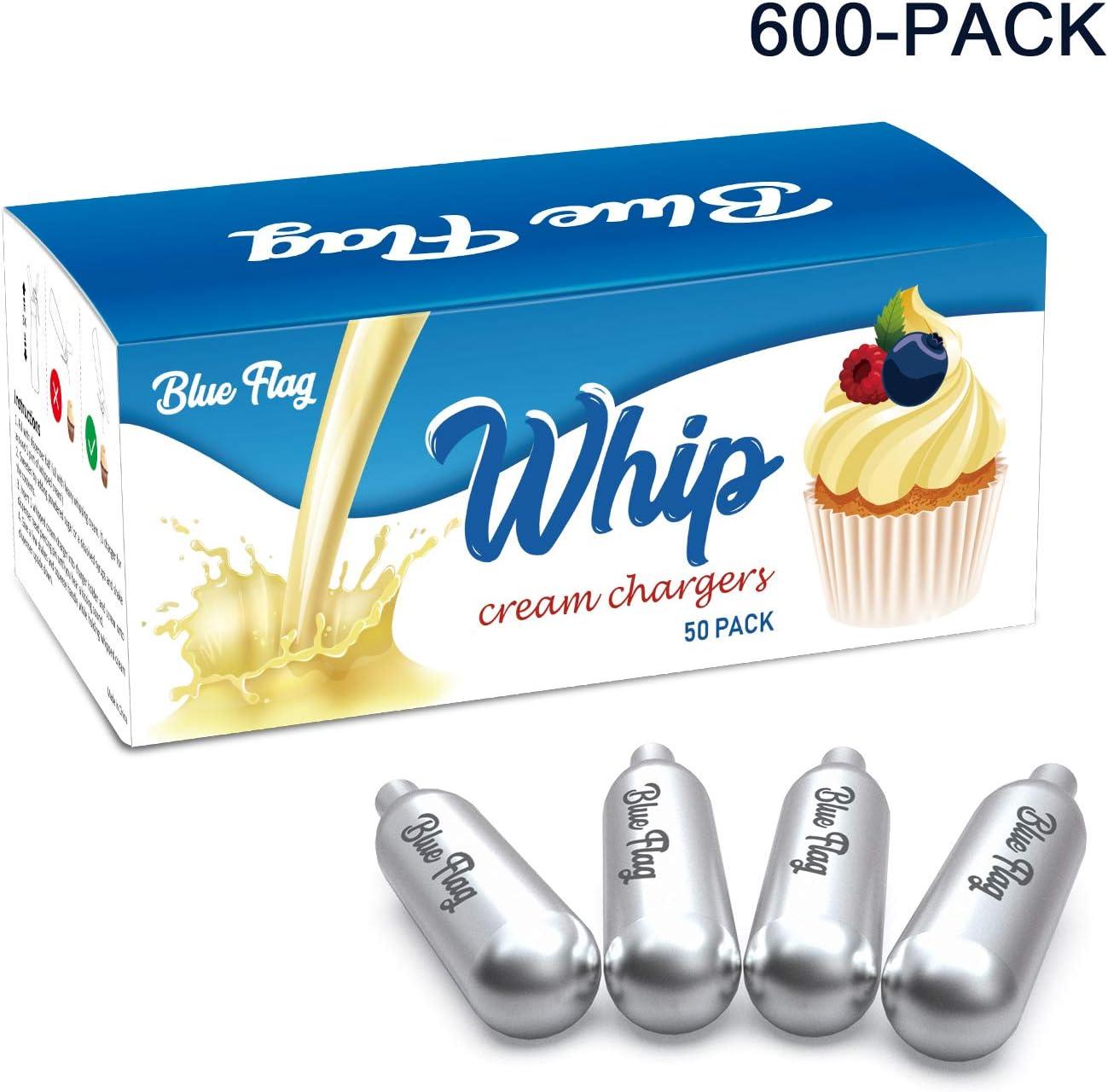 50 Pack BLUE FLAG Whipped Cream Chargers N2O Nitrous Oxide 8-Gram Cartridge for Whipper Whipped Cream Dispenser
