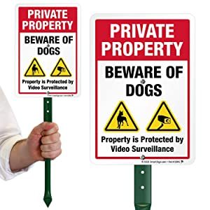SmartSign Private Property Beware of Dogs Sign with Stake 21