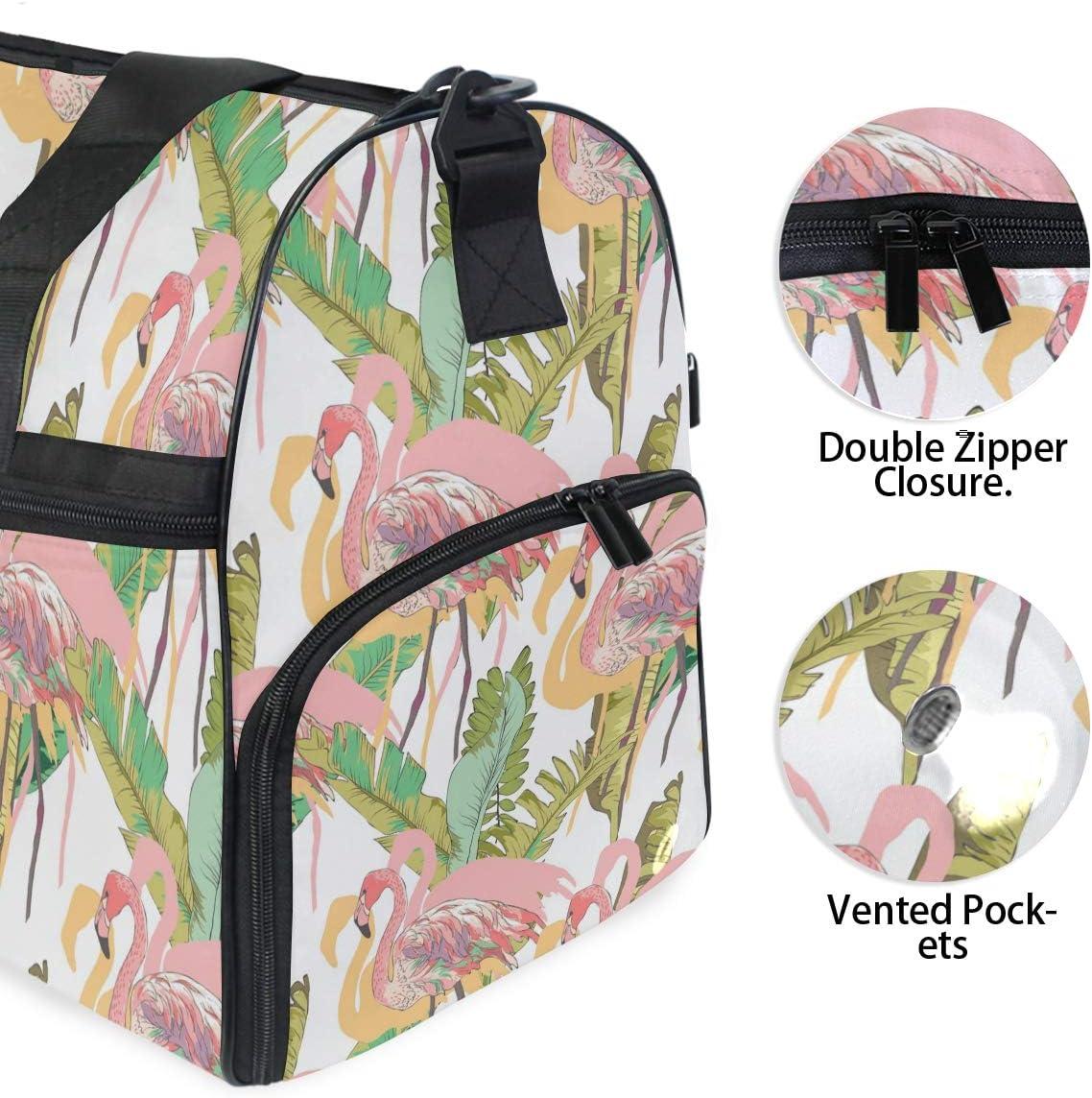 FANTAZIO Beauiful Flamingo Sports Bag Packable Travel Duffle Bag Lightweight Water Resistant Tear Resistant