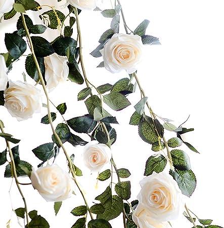 TININNA 180cm Fait /à la Main Rose Artificielle Lierre Guirlande Feuille Garland Fleurs pour D/écoration Maison Jardin Mariage Fenetre Rose
