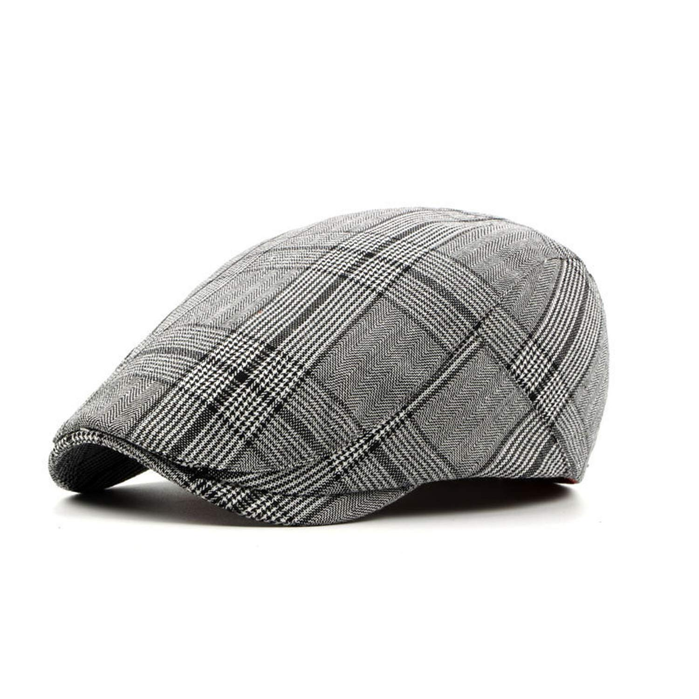 eud-UW British Style Summer Sun Hats for Men Women Casual Cotton Women Beret Caps Adjustable Plaid Flat Cap