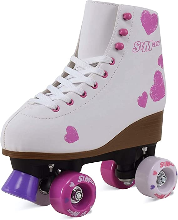 Roller Skates for Girls Size 5 Diamond Sparkle White for Kids Quad Derby Light with Adjustable Lace System Outdoor rollerskates Girl 4-Wheels Blades Indoor Classic Youth Toddler ABEC-7 37