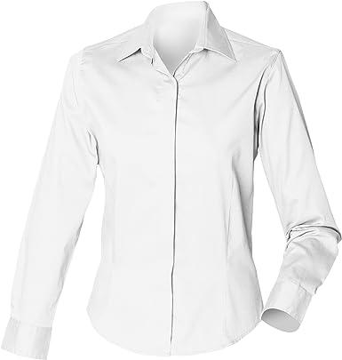 Henbury- Camisa de Trabajo Entallada Oxford de Manga Larga para Mujer: Amazon.es: Ropa y accesorios