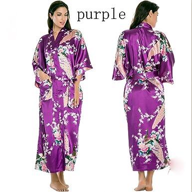 Veiai Damen Kimono Brautkleid Gr. X-Large, violett: Amazon.de ...