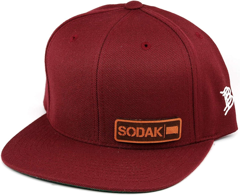 OSFA//Maroon Branded Bills /'South Dakota Native Leather Patch Snapback Hat