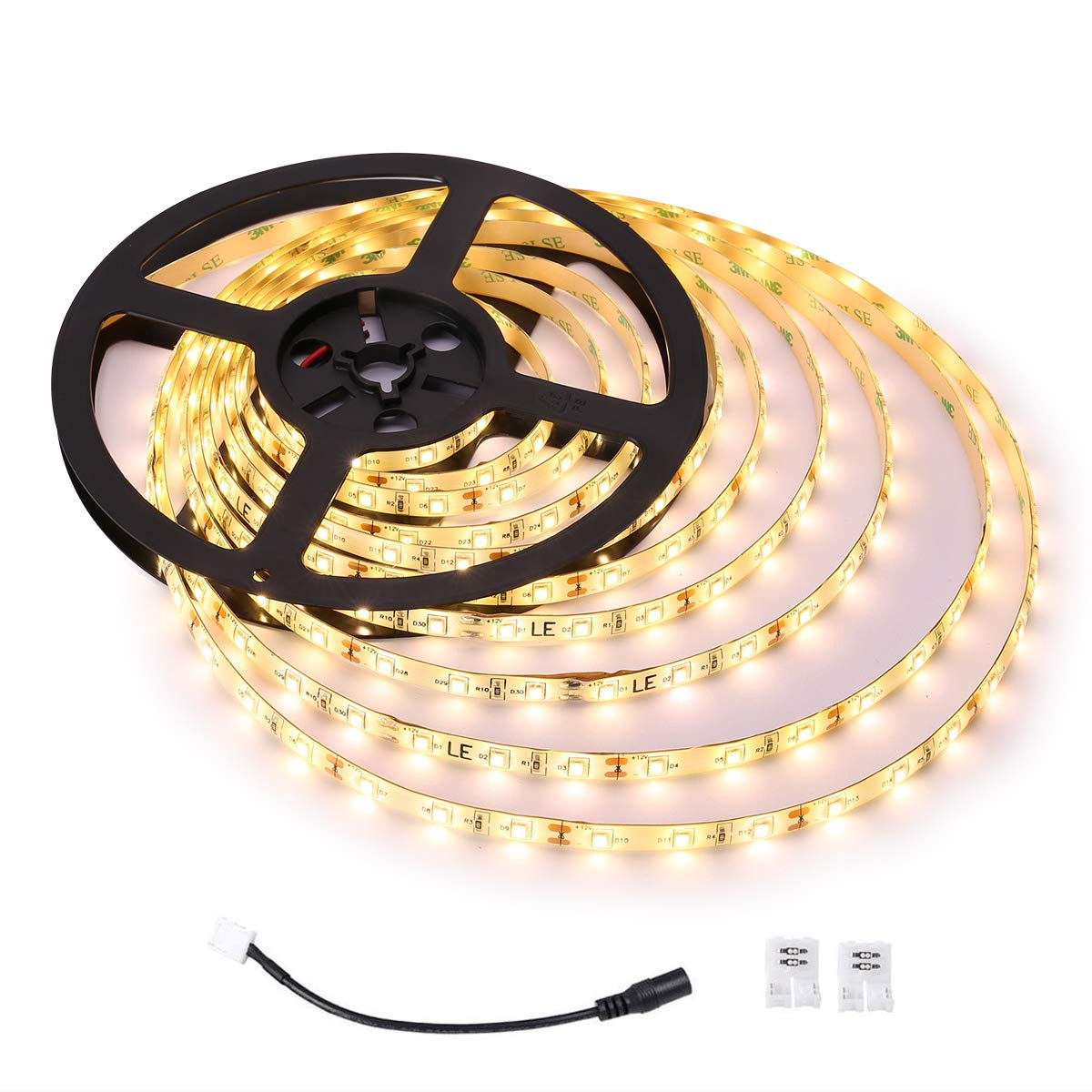 Le Waterproof Led Strip Lights 300 Units 2835 Leds 12v Warm White Ledstrip Rgb Controller With Ir Remote Dirirxrgb Us Tape 1200 Lumens Outdoor Light Strips Pack Of 5 Meter Lighting