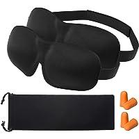 OMORC 3D Schlafmaske Augenmaske mit zwei Paaren Ohrenstöpsel und Tasche, 2-Pack