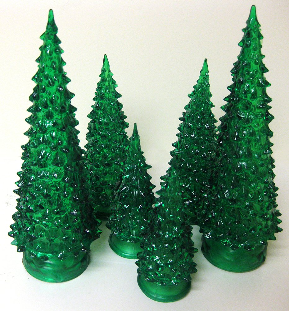 Amazon.com: Tabletop LED Christmas Trees - Set of 3 Green Acrylic ...