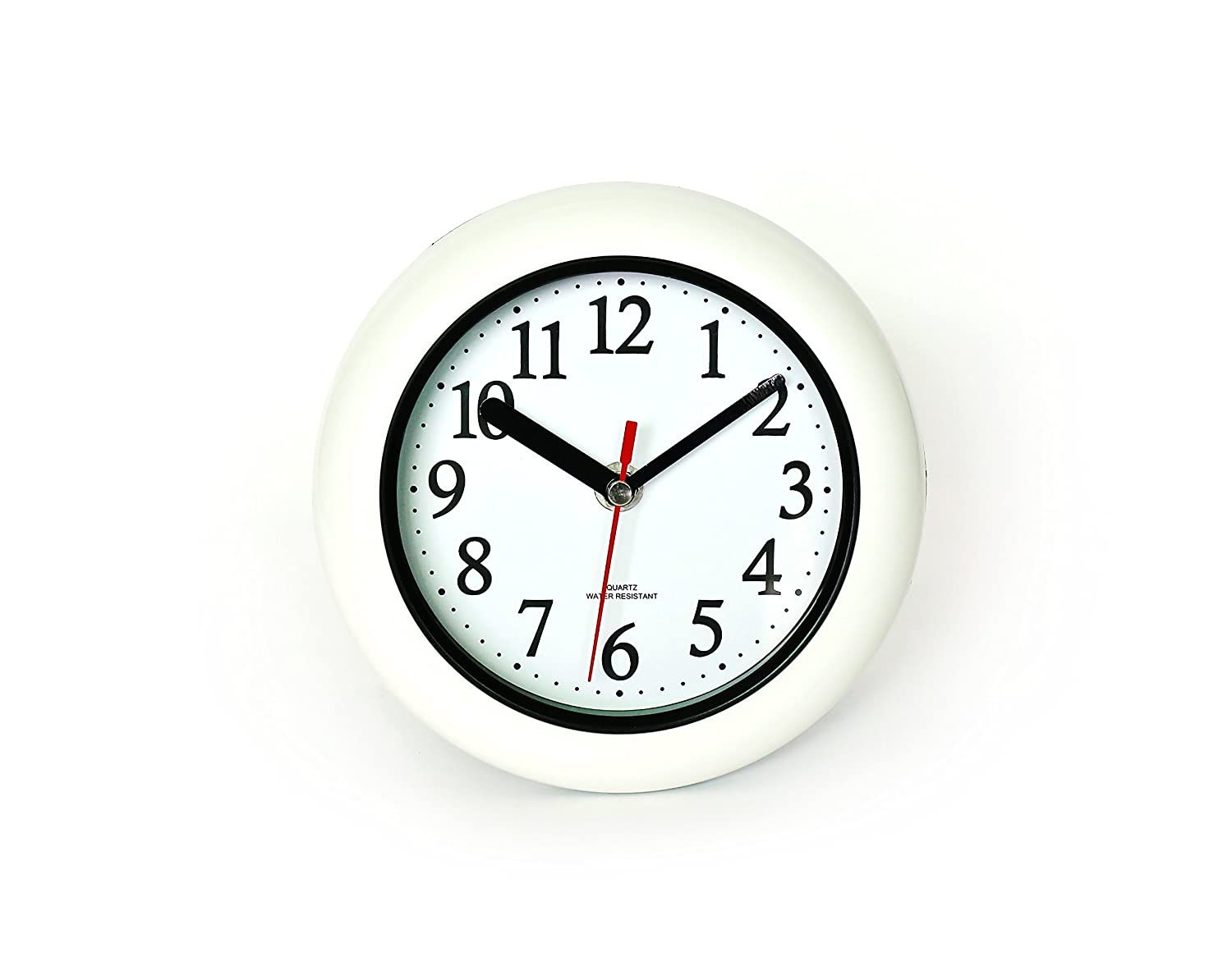 "Perfect White Shell Water Resistant Clock, Quartz Movement, Simple Design, 6.5"" in Diameter, ABS Glass Front, Flexible Options to Hang or to Stand. Withstand Water Vapor and Moisture."